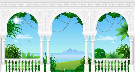 동양 스타일의 멋진 궁전 발코니가 열대 풍경을 볼 수 있습니다. 벡터 그래픽