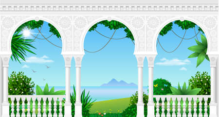 A balcony of a fabulous palace in oriental style with a view of the tropical landscape. Vector graphics