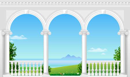 Balkon van een fantastisch paleis in klassieke stijl met uitzicht op het zee-landschap. Vectorafbeeldingen Stockfoto - 86846343