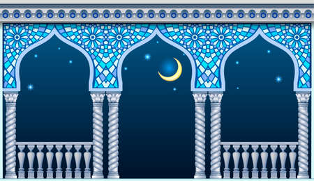 Balcony of a fabulous palace in oriental style with a view of the night sky. Vector graphics Çizim