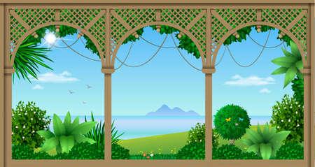 Wooden veranda. Ilustrace