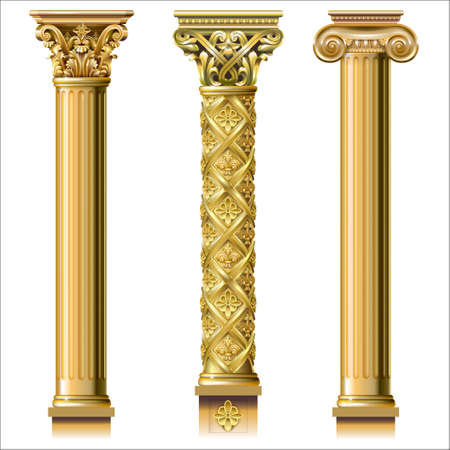 Set of classic gold columns in different styles