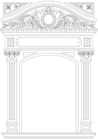 Contouring coloring of classical arch. Classic antique portal with columns in vector graphics Çizim