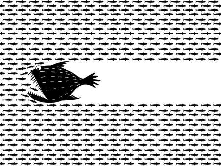 Large predatory fish like a angler hunt for a flock of herring and sprat, horizontal banner.
