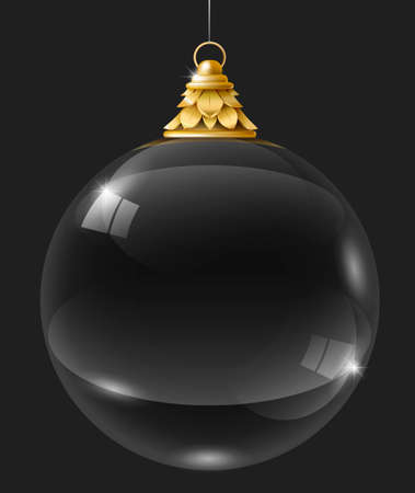 Transparent glass garland or crystal ball. Christmas bauble on the gold suspension. Vector graphics. New year decoration for Christmas tree