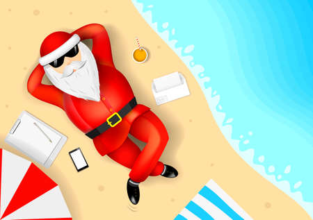 Santa Claus resting and lying on a tropical beach. The list of gifts. The ocean and the sand with the waves