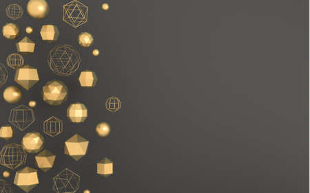 3D illustration. Dark gray background with abstract geometric gold shapes in space
