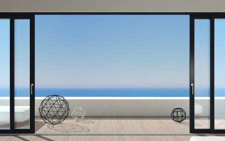 Puerta corredera exterior con dos persianas negras. Especies de ventana panorámica y terraza. Ilustración 3d Foto de archivo