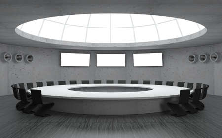 3D illustration. Conference room for meetings with a dome round shape with a large table. Secret underground military bunker Stock Photo