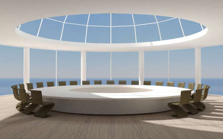 3D illustration. Conference room for meetings with a dome round shape with a large table. A skyscraper near the sea