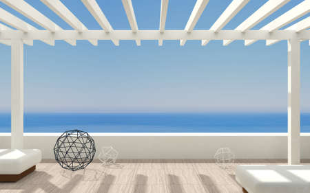 3D illustration. Patio or terrace modern luxury villas with sea views and a classic pergola . Фото со стока - 91579198