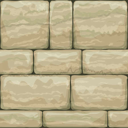 Seamless texture of old stone. Breccia. Classic vintage brickwork of the facade. Vector graphics Иллюстрация