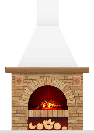 An ancient brick hearth with fire. Brick arch with fireplace or stove