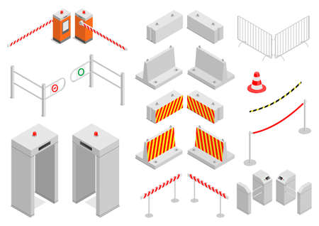 Set of elements infrastructure city safety and security, Different control systems, Isometric graphics.
