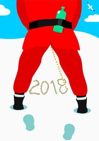 Peeing Santa in snow. A bottle of alcohol. The drunk man. Caricature