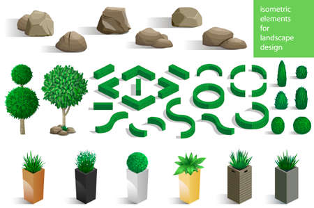 Set of landscape elements stones and plants for the design of the garden or the park. Vector graphics. Architectural isometrics
