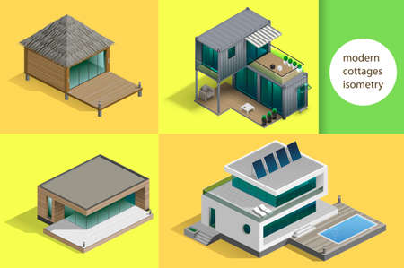 Set of modern cottages and houses in isometric schemes.