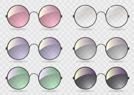 Set of round glasses with different lenses. Retro style. Hippie. Vector graphics with transparency Illustration