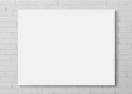 Horizontal white thin photo frame with. Frame picture or certificate. Vector Blanket or mocap for interior prints. A blank sub-frame canvas painting Иллюстрация