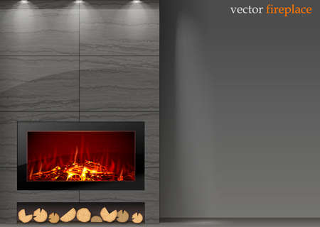 Modern vector a fireplace in the interior room. The fire in the furnace.