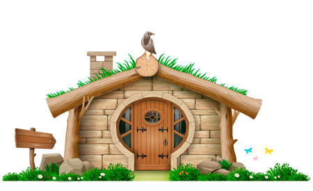 Cabana de floresta fabulosa anã ou hobbit. Uma pequena casa de pedras e troncos. Arquitetura eco. Conceito gráfico de vetor