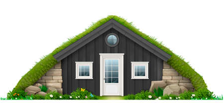 Traditional Icelandic turf house. Eco architecture, concept in vector graphics, fabulous hut.