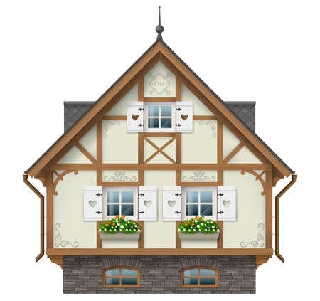 Klassiek vakwerkhuis. Duitse traditionele architectuur. Fantastische hut. Vectorafbeeldingen. Alpine chalet.