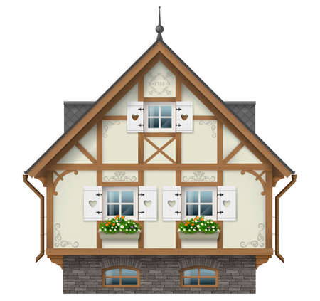 Classic half timbered house. German traditional architecture. Fabulous hut. Vector graphics. Alpine chalet.