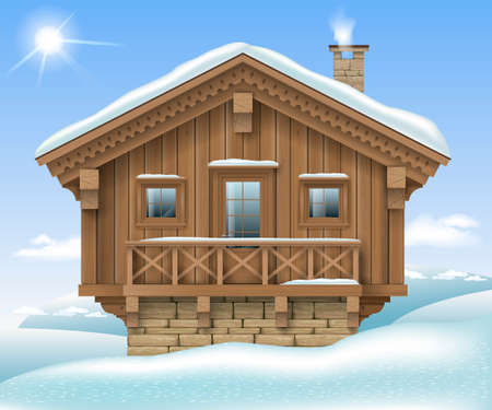 Wooden small house or Chalet in the winter mountains . The traditional Alpine hut . Ski resort hotel. Vector graphics