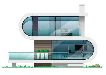 The facade of a modern futuristic house. Concept villas in vector graphics