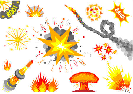 A set of cartoon bomb explosions and fireworks.