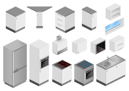 Isometric boxes of furniture and equipment for the kitchen vector illustration set