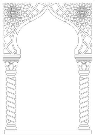 輪郭の色付け。アラビア語または他の東洋スタイルの建築アーチ、入り口、出入り口