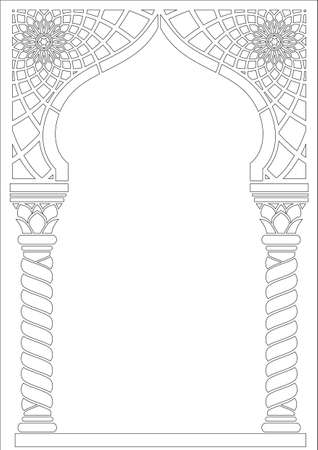 Contouring coloring. Architectural arch in Arabic or other Eastern style, entrance, doorway