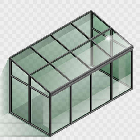 Greenhouse or winter garden. Vector graphic with transparency