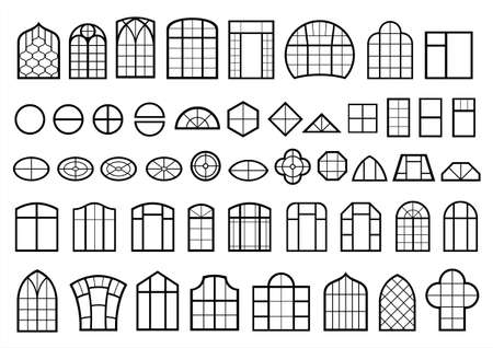 A set of classic and modern window designs vector illustration