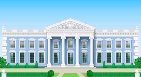 Die Fassade eines klassischen öffentlichen Gebäudes ist ein Palast, ein Gerichtsgebäude oder ein Theater, ein Parlament oder ein Museum. Klassizismus. Vektorgrafiken