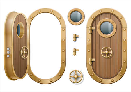 Illustration of metal door of marine ship.
