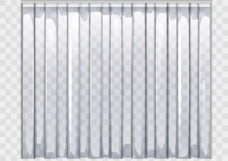 Polyethylene flexible curtain. Equipment for warehouses and entrances. Vector graphics. Transparency.