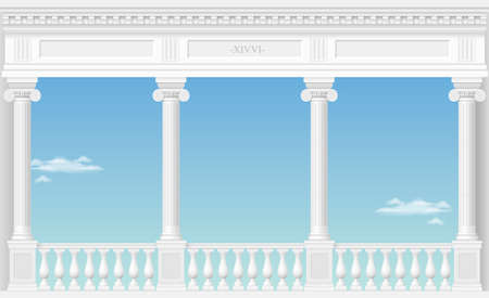 Balcony of a fabulous palace in classical style with a view of the cloud landscape Vector graphics