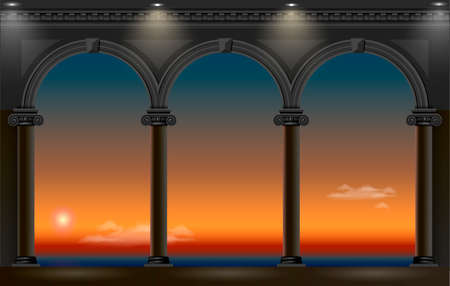 Balcony of a fabulous palace in classical style with a view of the sea night landscape. Vector graphics