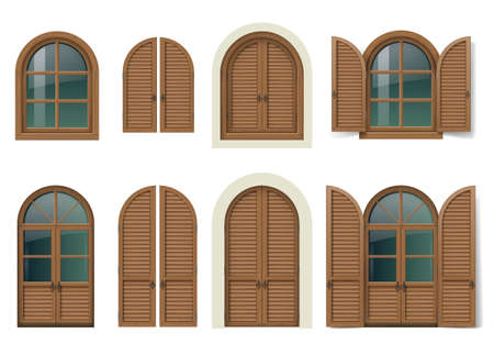 Set of wooden windows and doors with shutters.