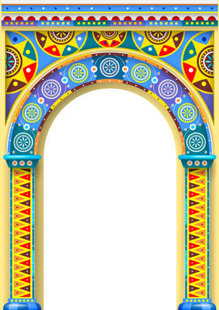 A bright color arch of the carousel or children's Park. Russian or Oriental style. The cover of the book. Vector graphics.