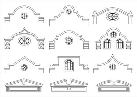 A set of silhouettes of classic vintage facades. Templates for colorings. Vector graphics. Architectural elements of pediments