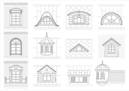A set of classic mansard facade windows. Pediments attics silhouettes of city roofs.