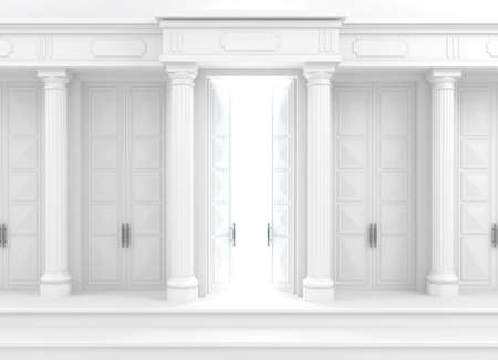 3D illustration. Background with classic wall with stone white columns and double open doors. Banque d'images