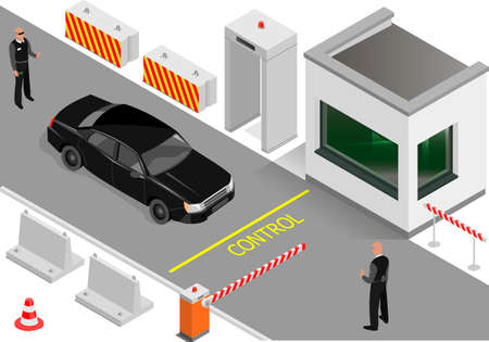 Zona de despacho de aduana con seguridad. Detector de metales y barrera en la zona de entrada. Guardia de seguridad e inspección de vehículos. Gráficos vectoriales.