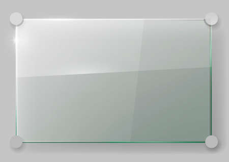 Transparent glass wall signboard. Vector graphics. Glass plate on the wall