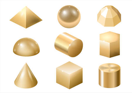 Set of different gold metal shapes and forms. Vector graphics Çizim