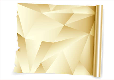 A roll of kitchen foil. Extended package into vector graphics. Decorative gold film.